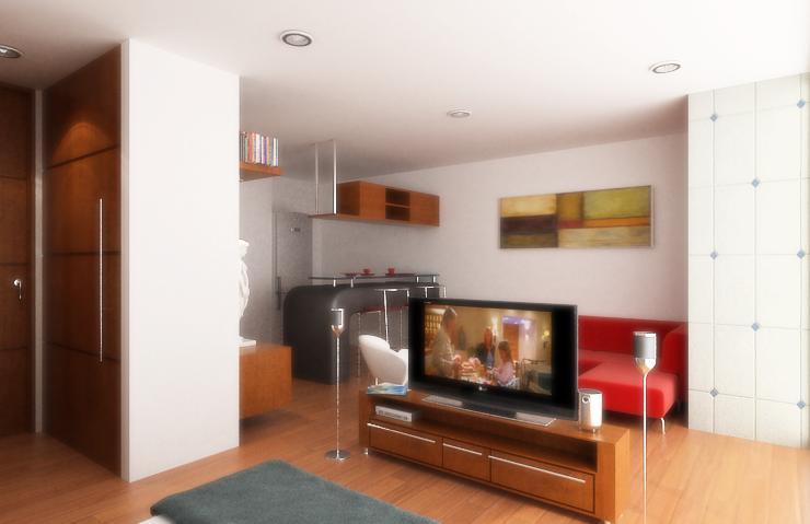 Dise o de apartamentos peque os tipo estudio modernos for Muebles para decorar departamentos pequenos